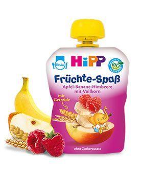 Hipp Бебешка Плодова закуска ябълка, банан и малина с пълнозърнести култури 6м+ 90 гр.